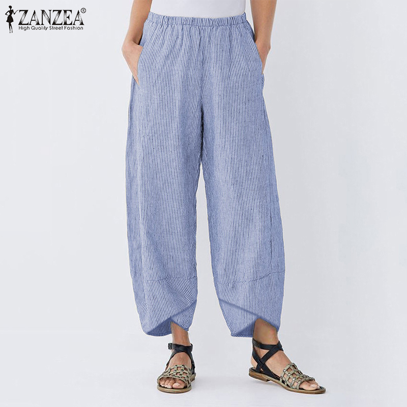 ZANZEA Women Striped   Wide     Leg     Pants   Casual Asymmetrical Trousers Cotton Linen Elastic Waist Pockets Pantalon Streetwear Overisze