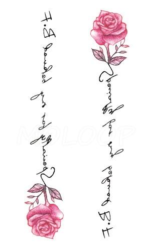 Tattoos Sticker pink rose plant flower letter Little Element Body Art Water Transfer Temporary Fake tatto for kid girl boy 2