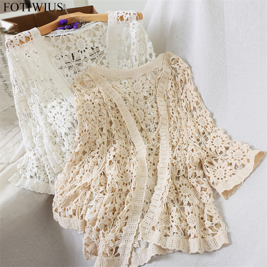 Sexy Hollow Out Crochet Lace Kimono Cardigan Women V-neck Open Stitch Casual Elegant Blouse Spring Summer Beach Cardigans Mujer