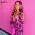 Hugcitar 2020 клетчатое платье с длинным рукавом и перчатками, сексуальное мини-платье на осень и зиму, женская модная уличная одежда, клубная оде...