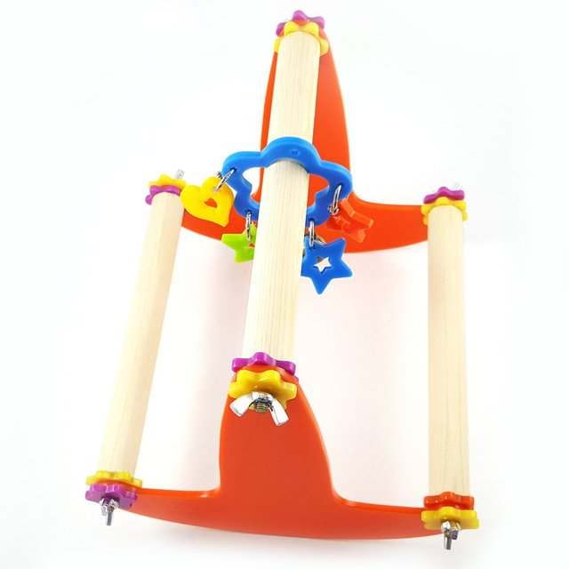 Bird Wood Swing Perch Toy for Parrot Parakeet Cockatiel Conure Cockatoo Macaw Lovebird Finch Canary Budgie Cage Stand 2