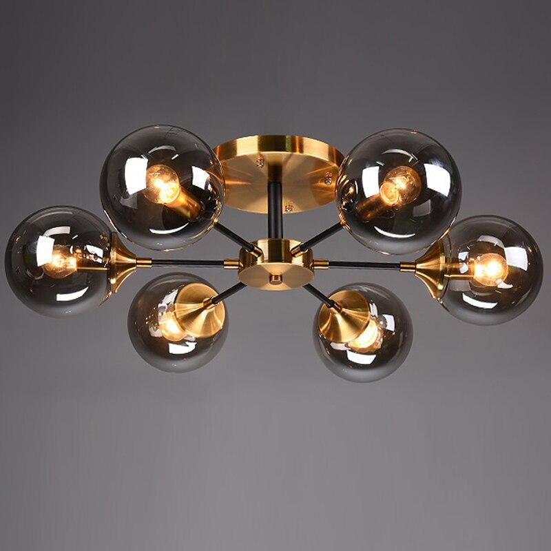 LED postmoderne lumières lampes à billes en verre lampes suspendues nordiques luminaires de chambre à coucher salon lustre plafond