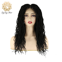 ZigZag Senegalese Twist Crochet Hair Braids Glueless Synthetic Lace Front Wig for Black Women Havana Mambo Twist Crochet Hair