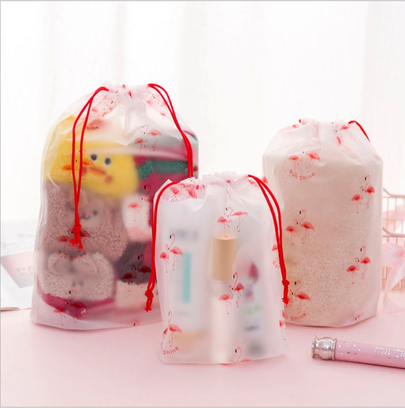 Flamingo Transparent Scrub Cosmetic Case Cosmetic Travel Bag Ms. Rope Makeup Bathroom Cosmetics Storage Storage Bag Washing