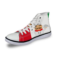 WHEREISART Women Canvas Shoes Cartoon Chef French Flag High Top Flats Unisex Vulcanized Shoes Female Casual Shoes Sneakers