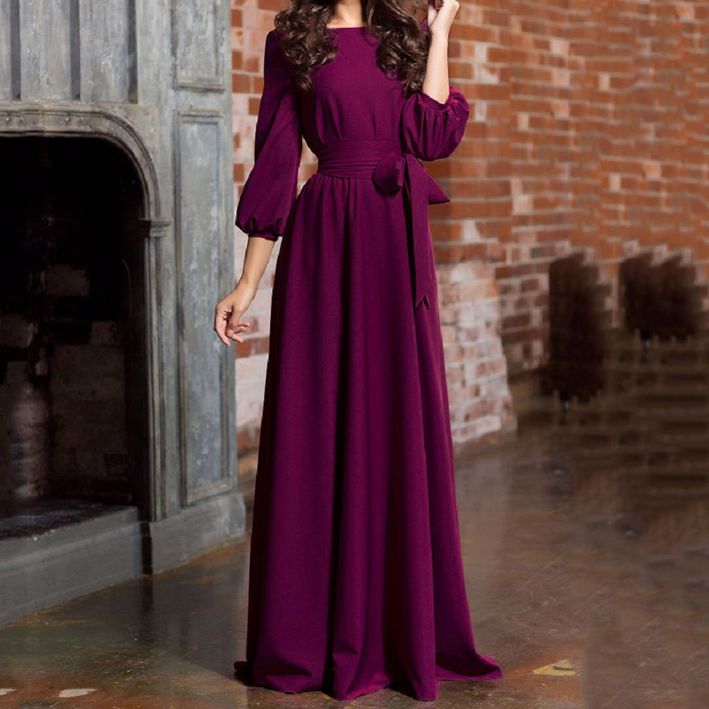 Women Summer Party Dress Casual Party Dress Lantern Sleeve Solid Long Maxi Dresses With Belt Vestidos