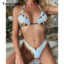 Swimsuit Women Bikini-Set Two-Pieces Mid-Waist-Bather Print V2487 Lady
