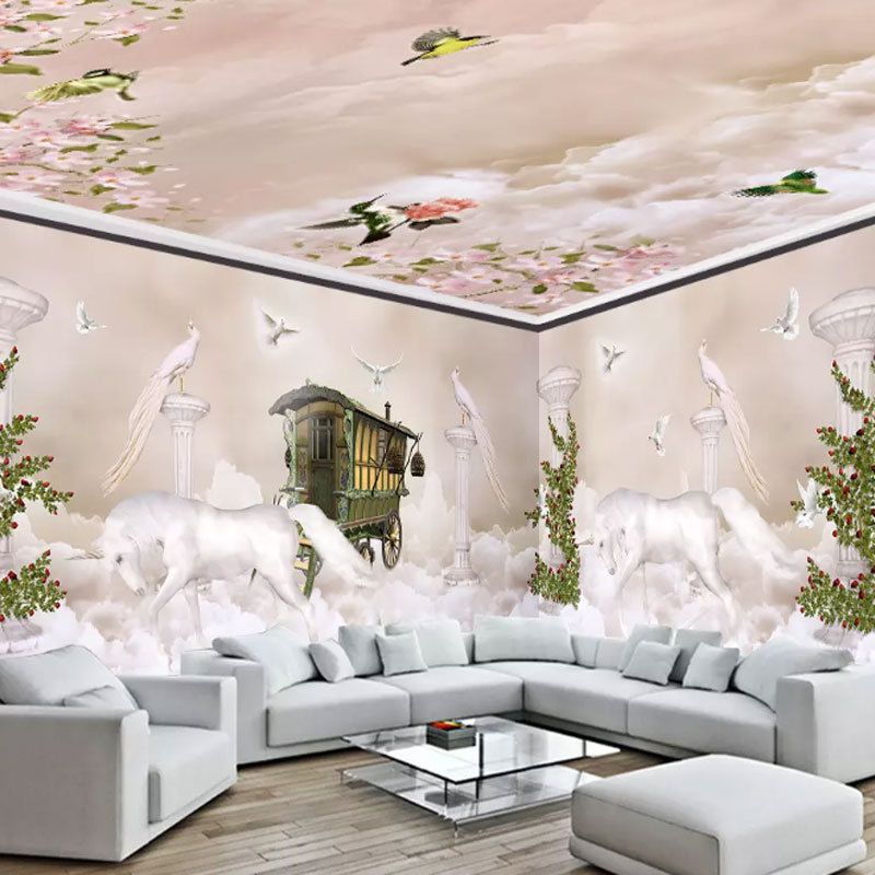 Cool Wallpaper Dreamy Sky Cloud Unicorn Roman Whole House Wall Mural Hotel KTV Mural