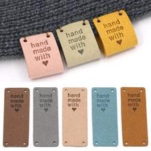 20 sztuk włókno skórzane tagi dla ręcznie robione z miłością etykiety na ubrania szyć etykiety ręcznie wykonane Tag dla czapki z dzianiny dodatki do odzieży