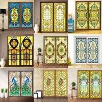 Custom Size No glue electrostatic scrubs translucent church stained glass windows and doors wardrobe furniture foil 80x200cm