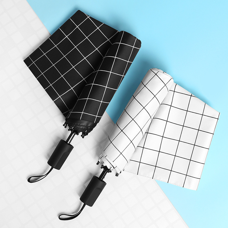 Creative Plaid Umbrella Three Fold Vinyl Sun resistant Parasol UV Protection Parasol All Weather Umbrella Customizable Advertisi|  - title=