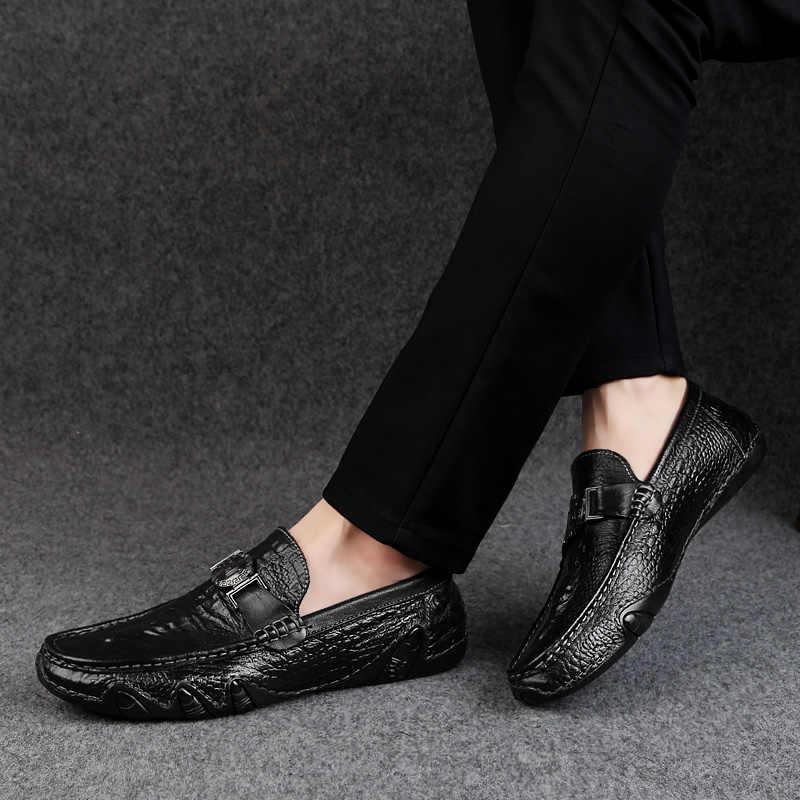 Rommedal timsah derisi makosen ayakkabı erkekler hakiki deri slip-on moccasins el yapımı erkek rahat ayakkabılar sürücü yürüyüş lüks eğlence