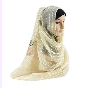 Image 3 - 2019 yeni müslüman dantel altın iplik viskon Hijab 12 renkler nefes yumuşak kadın eşarp damla nakliye