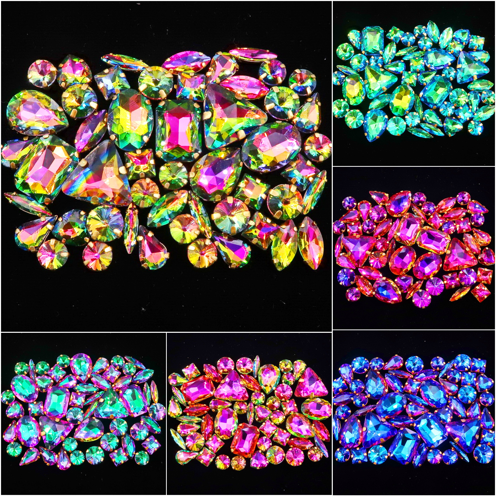 Gold claw settings 50pcs/bag shapes mix rainbow & jelly candy AB glass crystal sew on rhinestone garments shoes bags diy trim title=
