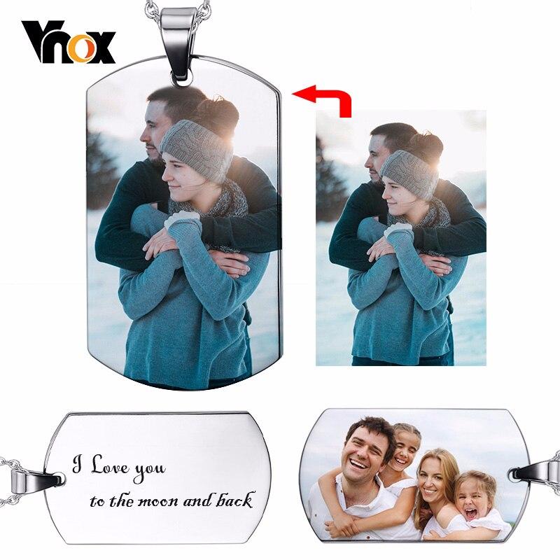 Vnox personnalisé Image Photo colliers pleine couleur Image solide en acier inoxydable chien étiquette pour femmes hommes pendentif cadeau personnalisé