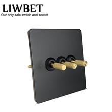 LIWBET interrupteur mural, 3 boutons, 2 voies, pour luminaire avec panneau en acier inoxydable noir et doré, 220 ~ 250V ac