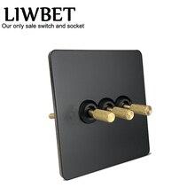 Liwbet Zwarte Kleur 3 Gang 2 Way Wall Switch En AC220 ~ 250V Rvs Panel Licht Schakelaar Met goud Kleur Toggle