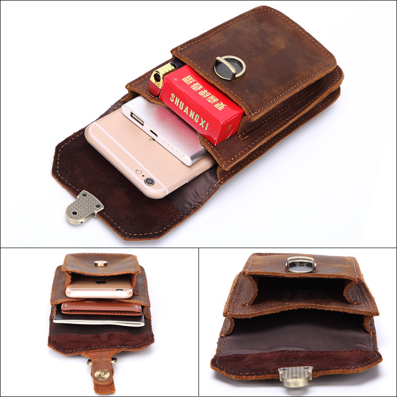 MISFITS men's genuine Genuine leather waist bags travel fanny pack leather belt Large Capacity Phone Purse Bags Mini Hip Pack