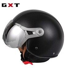 Motorrad PU Leder Capacete 3/4 helme RETRO Helm Casco Motorrad Cruiser Touring Chopper Roller Reiten Vintage Helme