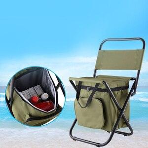 Image 3 - เก้าอี้ตกปลา Movable ตู้เย็นอุ่นเย็นแบบพกพาพับเก้าอี้ชายหาด 1350g ที่นั่งเบาะ 100kg เก้าอี้พับสตูล