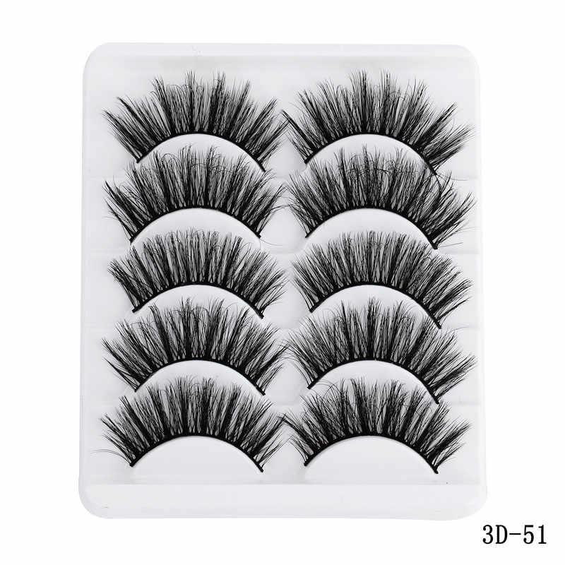 5 Pairs Multi 5D Weiche Nerz Haar Falsche Wimpern Handgemachte Wispy Flauschigen Langen Wimpern Natur Augen Make-Up Werkzeuge Faux Auge wimpern