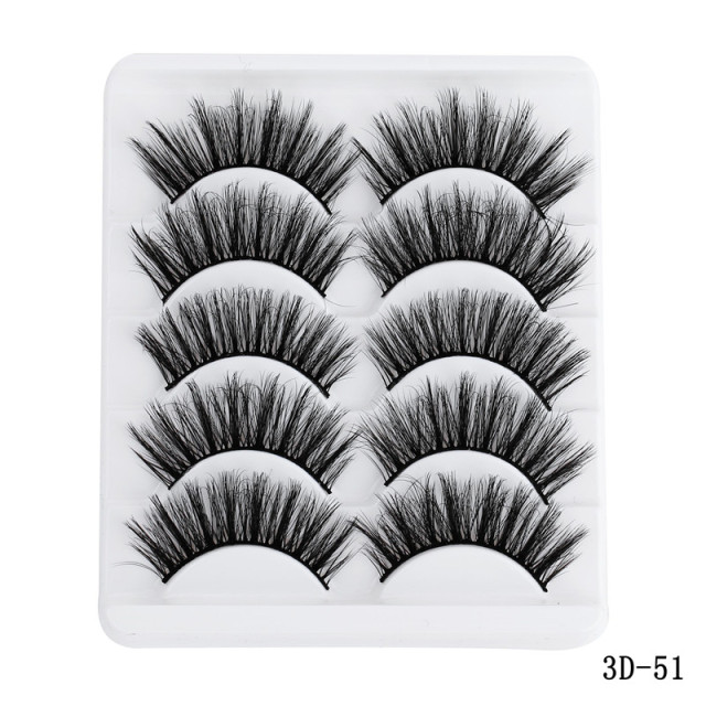5 Pairs Multipack 5D Soft Mink Hair False Eyelashes Handmade Wispy Fluffy Long Lashes Nature Eye Makeup Tools Faux Eye Lashes 4