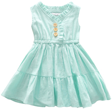 2-6T Toddler Kids Baby Girls Mint Green Sleeveless Summer Dress Party Pageant Dresses Vestido Infantil back to school dress