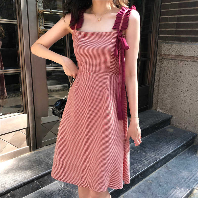 Women High Waist Plaid Dress Summer Chic Pleated Sleeveless Sweet Female Dress Casual Square Collar Lace Up A-Line Holiday Dress