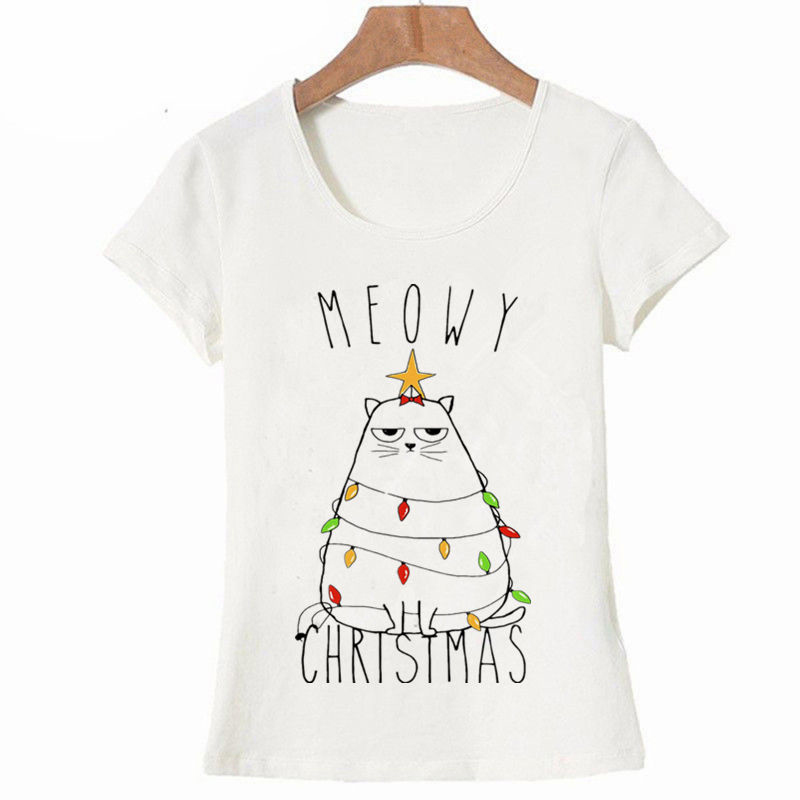 Christmas Costumes Women T Shirt 2019 Fashion Cartoon Cat Print Women Tops Harajuku Streetwear Plus Size T Shirt Crop Tee Tops
