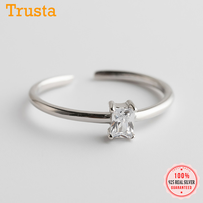 Trustdavis Real 925 Sterling Silver Sweet INS Geometric Rectangle Opening Ring For Women Wedding Birthday Jewelry Gift DA1677