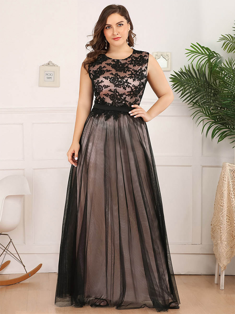 Evening-Dresses Party-Gowns Lace Robe-De-Soiree Tulle Ever Pretty Formal Long Plus-Size