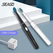 SEAGO แปรงสีฟันไฟฟ้า USB ชาร์จผู้ใหญ่กันน้ำ Sonic 4 โหมดท่องเที่ยว 3 หัวแปรงความปลอดภัย