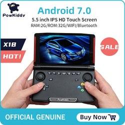 Портативная игровая консоль Powkiddy X18 Andriod, экран 5,5 дюйма 1280*720, четырёхъядерный процессор MTK 8163, 2 Гб ОЗУ 32 Гб ПЗУ, видео, ручной игровой плеер