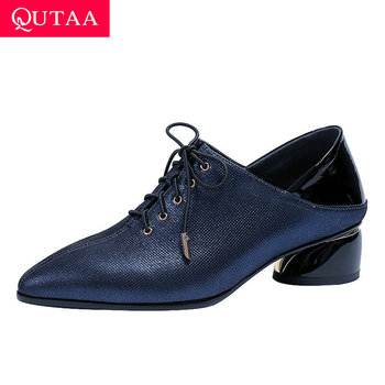 QUTAA 2020 Sexy Pointed Toe Fashion Square Heel Women Single Shoes Sheepskin Cow Leather Lace Up Quality Women Pumps Size 34-42