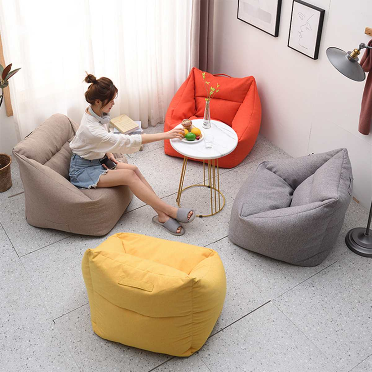 New Lazy Bean Bag Sofa Cover Without Filler Indoor Seat Chair Cover Beanbag Sofas Large Bean Bag Cover Armchair Cozy Game Chair