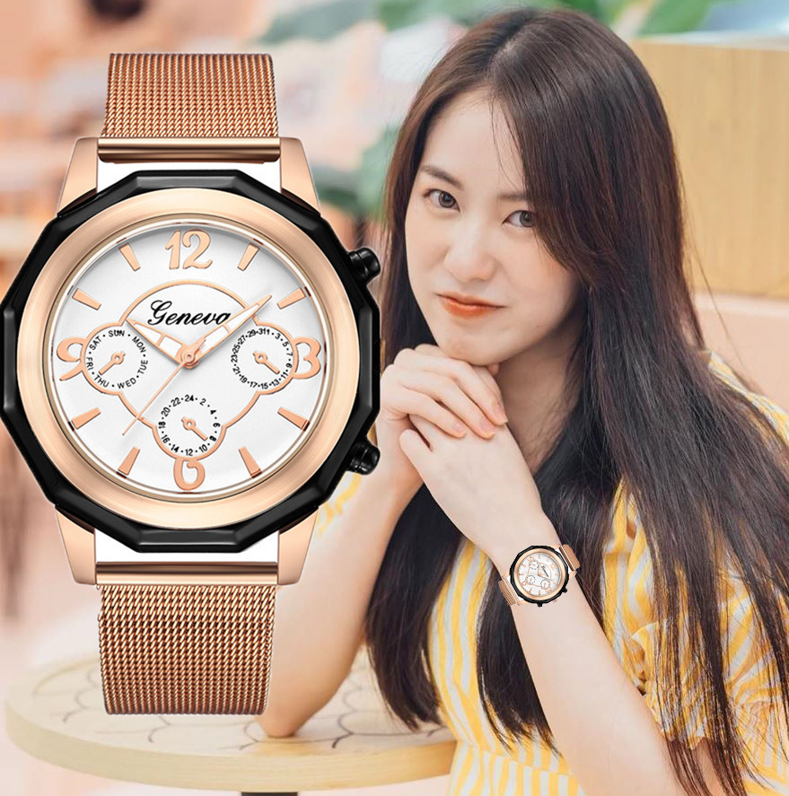<font><b>Women</b></font> Watches Fashion Brand Rose <font><b>Gold</b></font> Dial Stainless Steel Strap <font><b>women</b></font>&#<font><b>39</b></font>;<font><b>s</b></font> watch Ladies Quartz Clock relogio feminino image