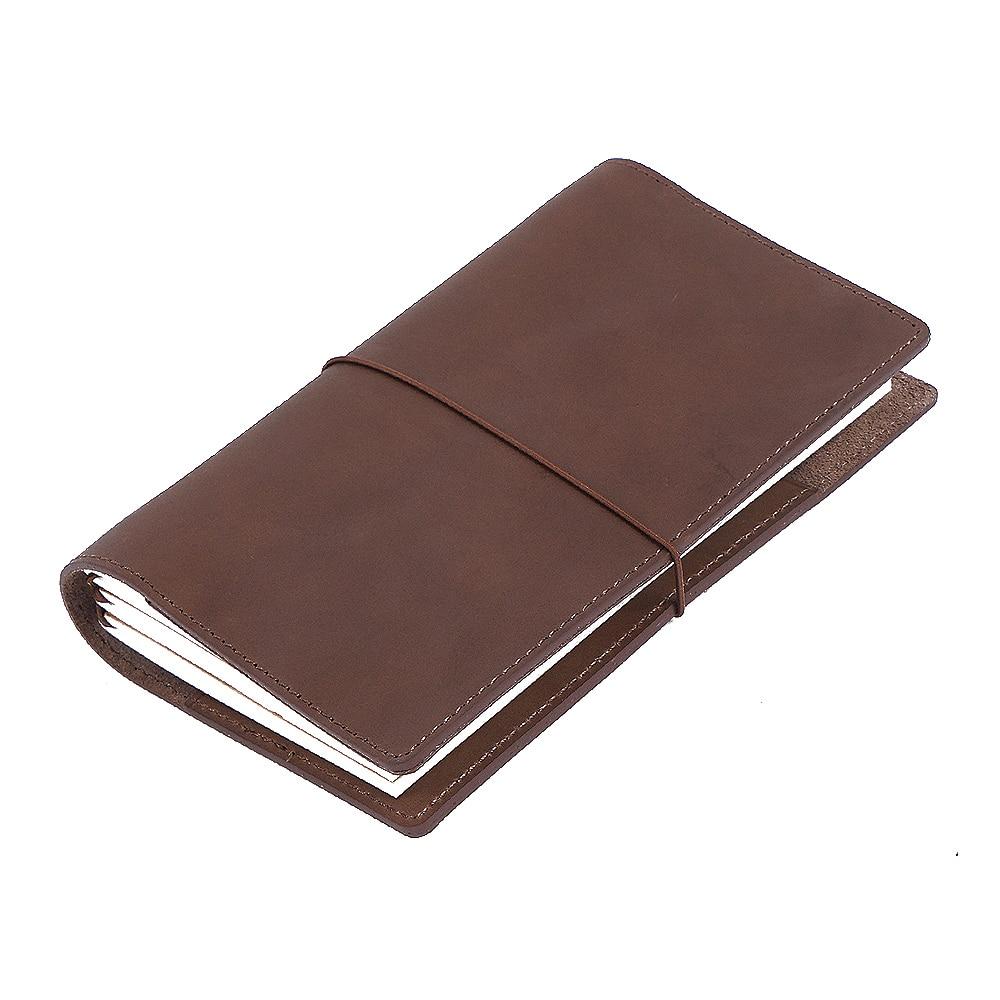Блокнот ручной работы из натуральной кожи, дорожный дневник с держателями для карт, планировщик дневника из коровьей кожи|diary sketchbook|genuine leather notebookleather notebook | АлиЭкспресс