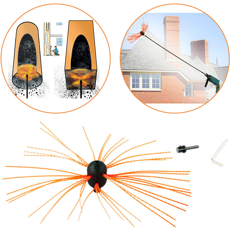 Aluminum Chimney Power Sweeping Brush Cleaning Rotary Sweep DIY Set Flexible Replace 30mm Eliminate Drilling Slip