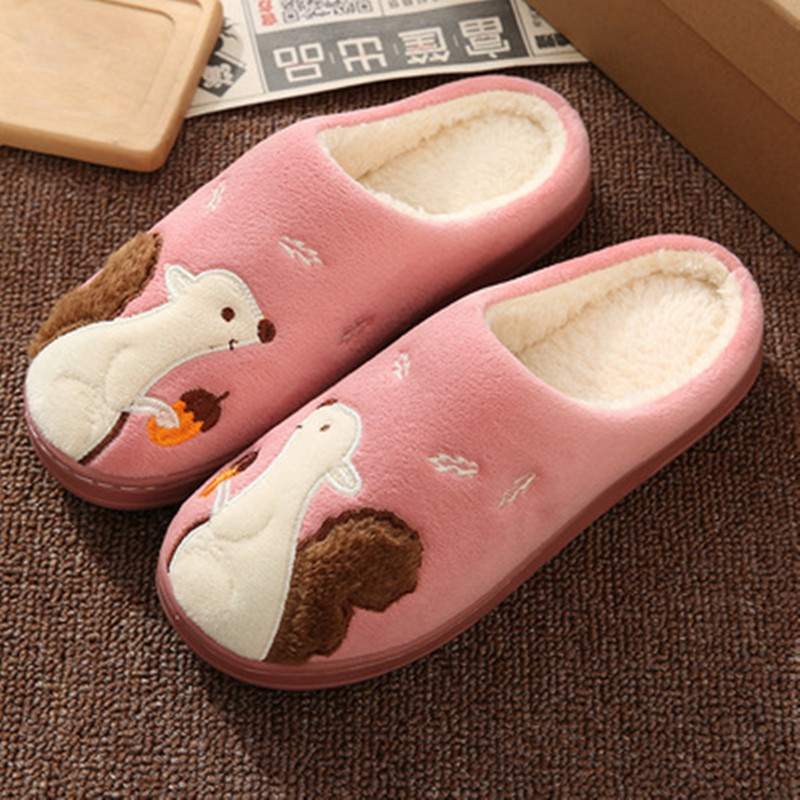 Women Slippers Cartoon Hedgehog squirrel Unicorn Slippers Winter Non-slip Fur House Indoor Outdoor Plush Ladies Shoes Men Couple 4