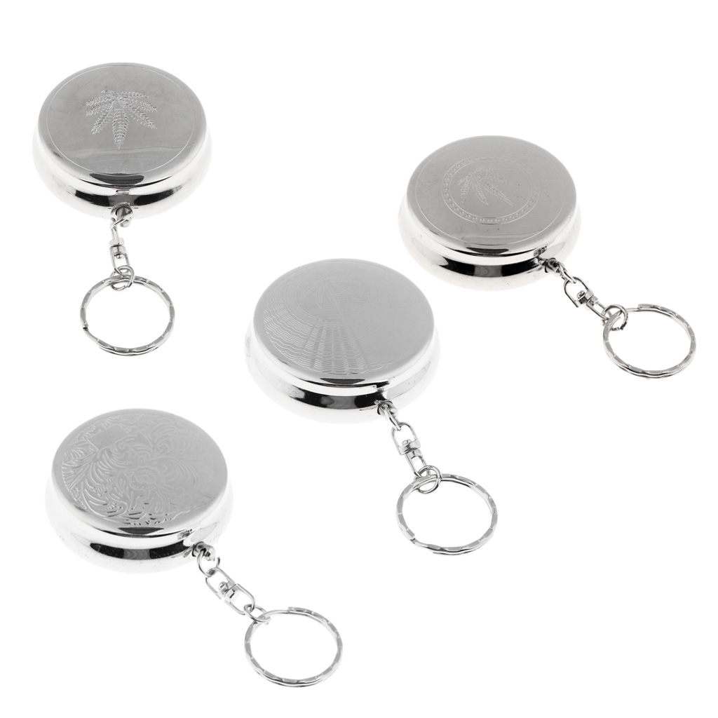 Stainless Steel Portable Pocket Circular Ashtray Key Chain with Cigarette Snuffer & Leaves Pattern