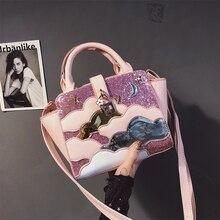 Zipper Cute Handbag Fashion Casual Korean Unique Design Popular Tote Bag Shoulder Sequins Soft Bolso Mujer Ladies Bag DE50ST