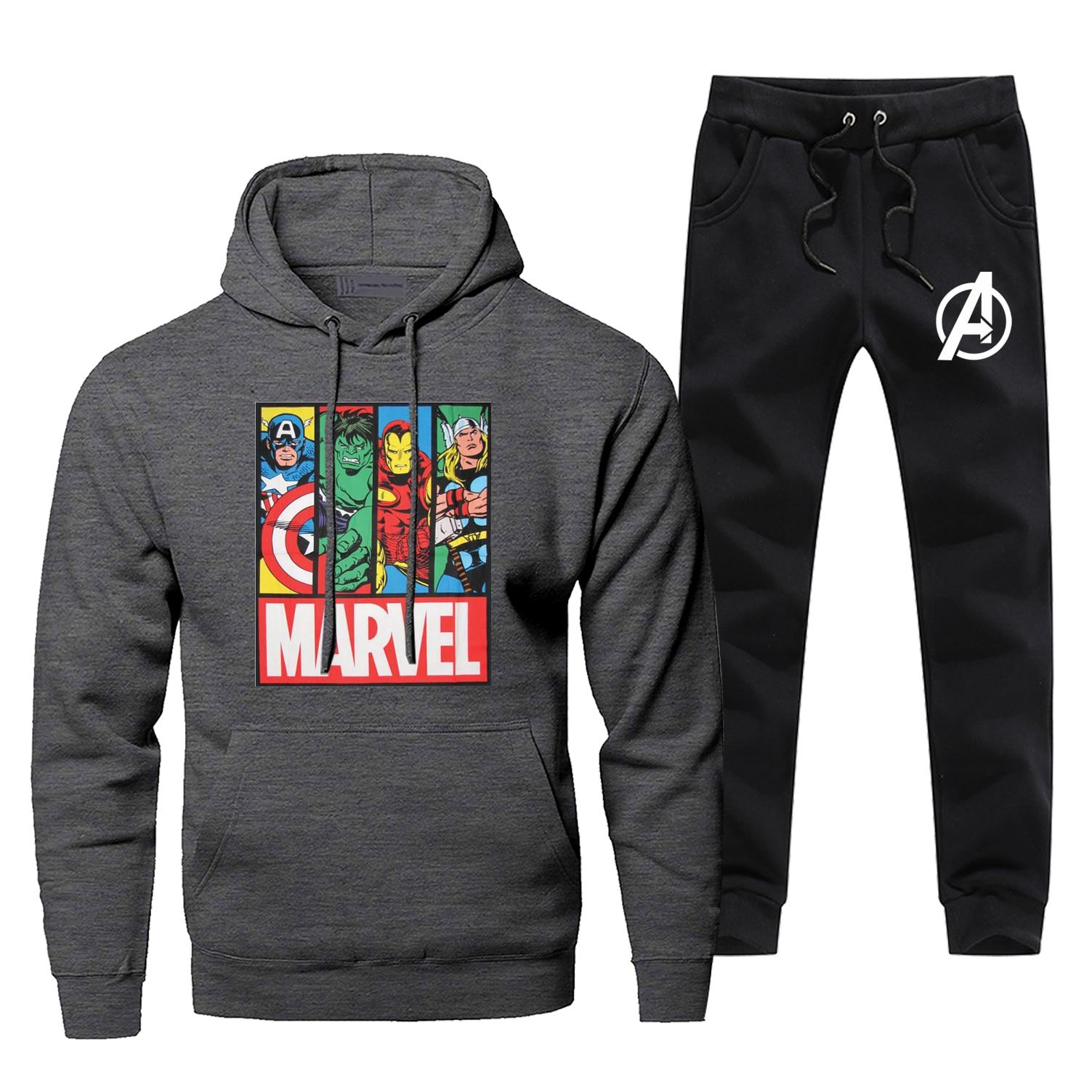The Marvel Super Hero Tracksuit Iron Man Captain America Hulk Thor Odinson Fashion Mens Hoodies+pants 2pc Sets Fleece Sportswear