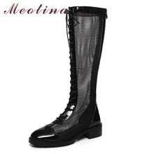 Meotina Knee-High Boots Women Shoes Round Toe Block Heels Cutouts Long Boots Lace Up Zip Mid Heel Ladies Boots Autumn Black 43 цена 2017