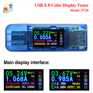 RD AT34 AT35 USB 3.0 color LCD Voltmeter ammeter voltage current meter multimeter battery charge power bank USB Tester(China)