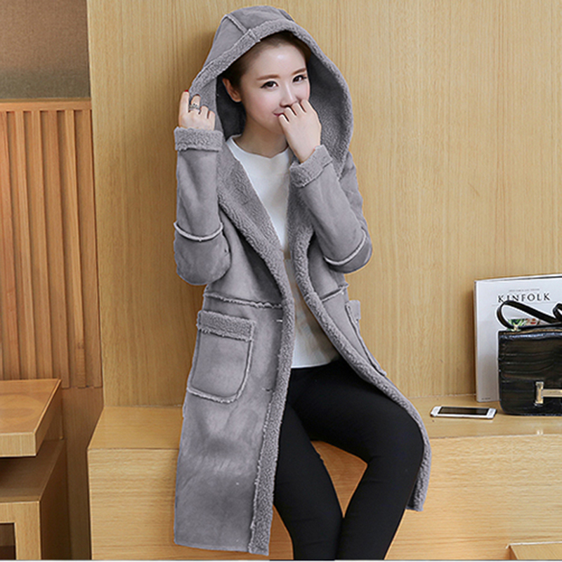 Autumn Women Faux   Suede     Leather   Winter Coat 2019 Female Korean Fashion Thick Lambs Wool Long Jackets Solid Warm Hooded Coats