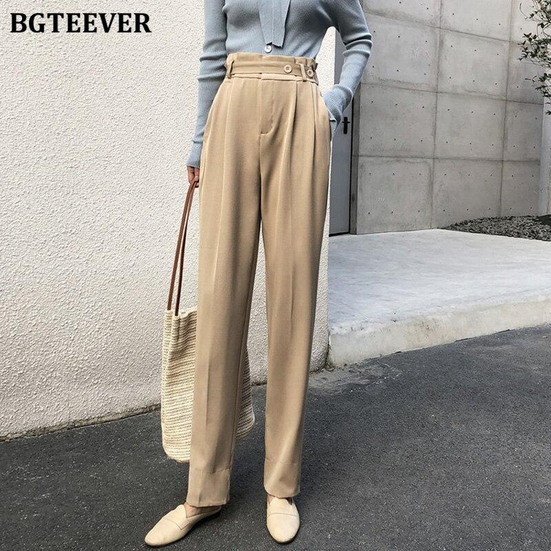 BGTEEVER Spring Summer High Waist Suit Pants For Women Office Ladies Loose Harem Pants 2020 Straight Leg Trousers Female