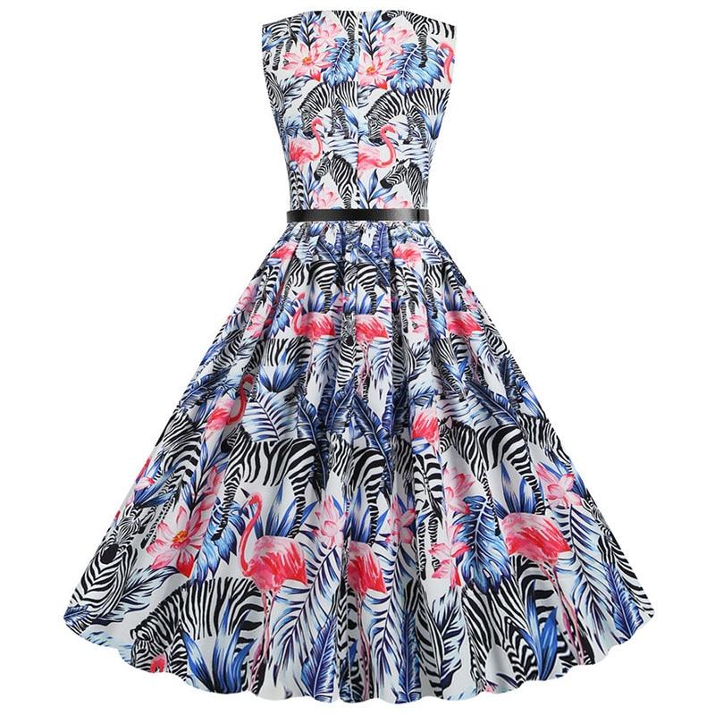 Flamingo Print Women Summer Dress Vintage Sleeveless O-neck Elegant Floral Party Dresses Vestidos Casual Plus Size Robe Femme 3