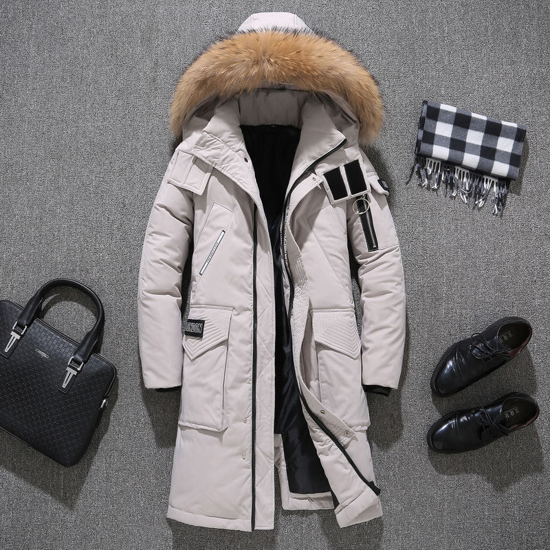 Winter Men's Thick Down Jacket Couple's Fur Collar Jacket