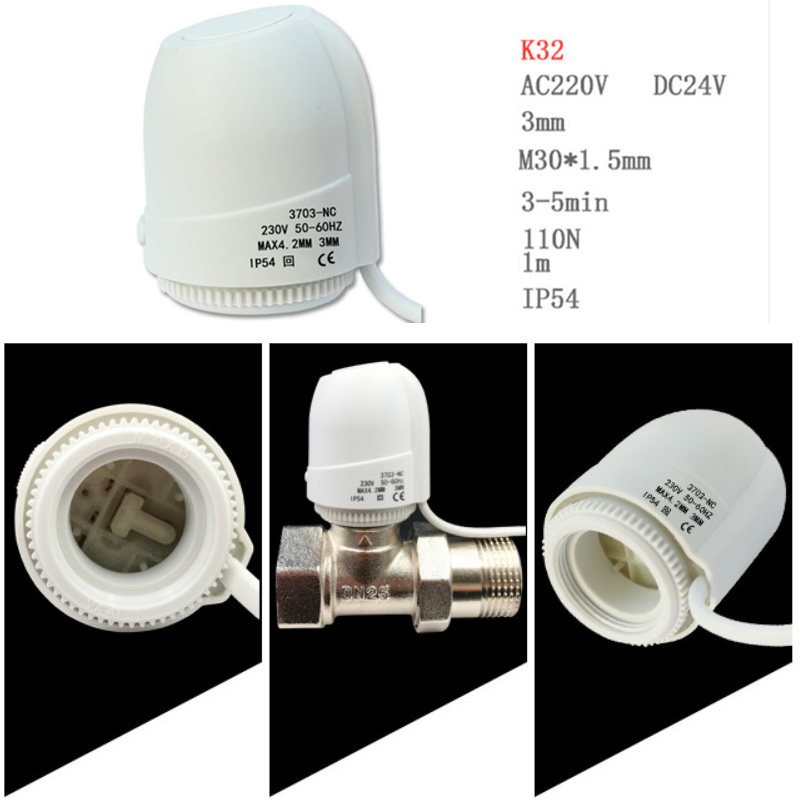 AC 230V NO NC Under Flooring Heating System Water Heating Normally Closed Open Heating Actuator