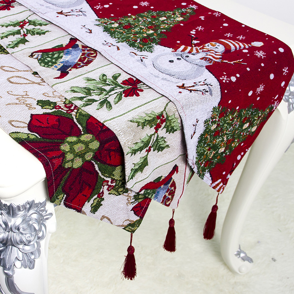 Christmas Snowman Floral Table Runner Tablecloth Cover Home Party Decor 34*180cm For Home Christmas Decoration